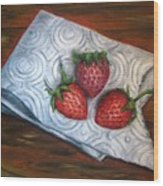 Strawberries-3 Contemporary Oil Painting Wood Print by Natalja Picugina
