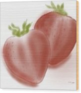 Strawberries Airbrushed Wood Print