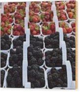 Strawberries And Blackberries Wood Print
