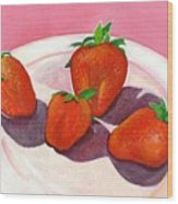 Strawberries And Cream Wood Print