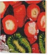 Strawberries And Kiwi Wood Print