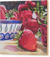 Strawberries And Roses Wood Print