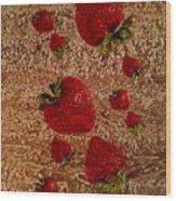 Strawberries And Stone Slab  Wood Print