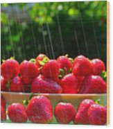 Strawberries And Summer Showers Wood Print
