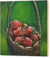 Strawberries contemporary oil painting Wood Print