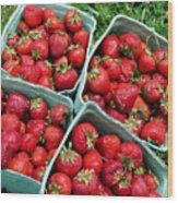 Strawberries In A Box On The Green Grass Wood Print