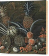 Strawberries In A Porcelain Bowl With Pineapples Melons Peaches And Figs Before A Tropical Landscape Wood Print
