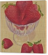 Strawberries In Crystal Dish Wood Print
