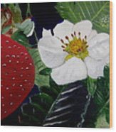 Strawberry And Blossom Wood Print