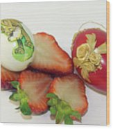 Strawberry And Easter Eggs Wood Print