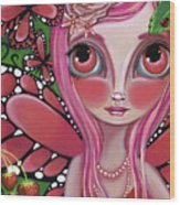 Strawberry Butterfly Fairy Wood Print