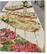 Strawberry Cake And Other Snacks On A Wood Table Outdoors On Sta Wood Print