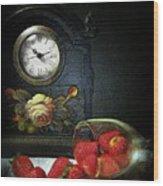 Strawberry Clock Wood Print