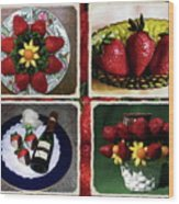 Strawberry Collage Wood Print