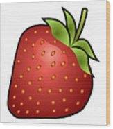 Strawberry Fruit Outlined Wood Print