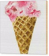 Strawberry Ice Cream Cone Wood Print