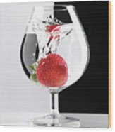 Strawberry In A Glass Wood Print