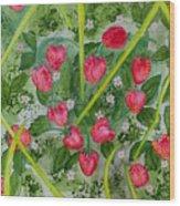 Strawberry Love Patch Wood Print