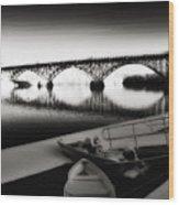 Strawberry Mansion Bridge In Winter Wood Print