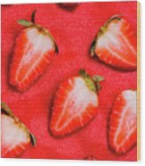 Strawberry Slice Food Still Life Wood Print
