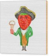 Strawberry Tricorn Hat Ice Cream Victorian Gentleman Watercolor Wood Print