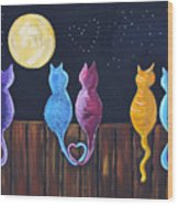 Stray Cats In Moonlight Wood Print