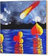 Streaking Comet Poker Art Wood Print