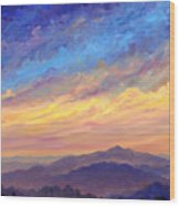 Streaking Sky Over Cold Mountain Wood Print