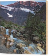 Stream And Mt. Edith Cavell At Sunset Wood Print