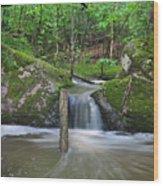 Stream Waterfall Wood Print