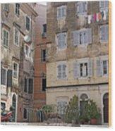 street and old buildings Corfu town Wood Print