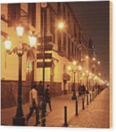 Street At Night, Lima Peru Wood Print