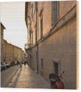 Street At Sundown In Assisi Wood Print