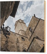 Street Behind The Barcelona Cathedral In Spain. Wood Print