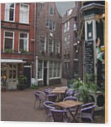 Street Cafe Mooy In Amsterdam Wood Print