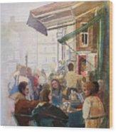 Street Cafe Wood Print