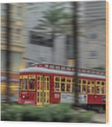 Street Car Flying Down Canal Wood Print