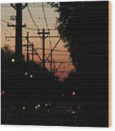 Street Car Sunset Wood Print