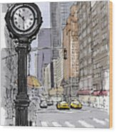 Street Clock On 5th Avenue Handmade Sketch Wood Print