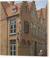Street Corner In Bruges Belgium Wood Print