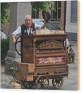 Street Entertainer In Bruges Belgium Wood Print