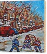 Street Hockey Hotel De Ville Wood Print