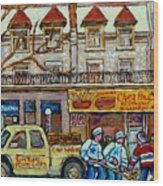 Street Hockey Pointe St Charles Winter  Hockey Scene Paul's Restaurant Quebec Art Carole Spandau     Wood Print