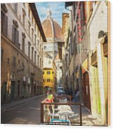 Street In Florence Wood Print