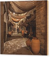 Street In Gothic District Of Barcelona At Night Wood Print