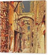 Street In Old Town. Wood Print