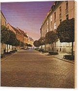 Street In Ostrow Tumski By Night In Wroclaw Wood Print
