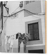 street in Porto with hanging clothes Wood Print
