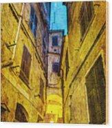 Street In Vernazza - Vintage Version Wood Print