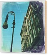 Street Lamp And Fire Escape Wood Print